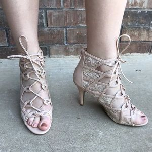 Nude Lace-Up Heels